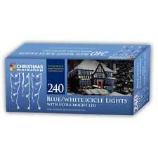240 Snowing Icicle Ultra Bright LED Lights Christmas Indoor Outdoor White Blue
