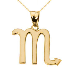 Fine 10k Yellow Gold Scorpio November Zodiac Sign Horoscope Pendant Necklace