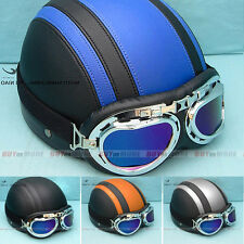 Factory-Price DOT ECE Motorcycle Retro Open Face Leather Harley Helmet & Goggles