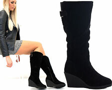 NEW WOMENS LADIES PLATFORM KNEE MID HIGH ANKLE WEDGE HEEL BIKER BOOTS SHOES SIZE