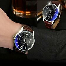 Fashion Men's Leather Band Stainless Steel Military Sport Quartz Wrist Watch