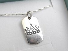 sterling silver 925 military name tag dog crown men mans charm pendant necklace