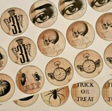 30-90 PRE-CUT EDIBLE WAFER CUP CAKE TOPPERS VINTAGE HALLOWEEN SCARY SKULL
