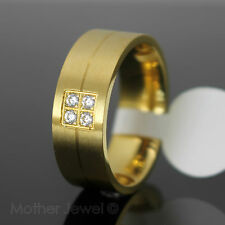 MENS WOMENS GIFT SATIN YELLOW GOLD STAINLESS STEEL 8MM WIDE WEDDING BAND RING