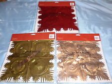 LARGE FOIL SQUARE CHRISTMAS CEILING GARLAND 3 DESIGNS GOLD RED SILVER 2.7M