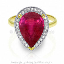 Genuine Ruby Pear Cut Gemstone & Diamonds Ring in 14K Yellow, White or Rose Gold