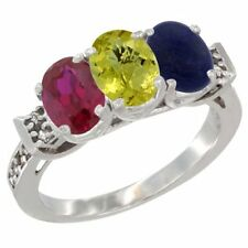 10k White Gold Enhanced Ruby, Natural Lemon Quartz & Lapis 3-Stone Oval Cut Ring