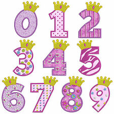* PRINCESS 1 NUMBERS * Machine Applique Embroidery Patterns * 10 Designs,3 Sizes