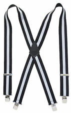 "Heavy Duty 2"" Wide Suspenders Classic Black & White Stripe Terry Choose Size"