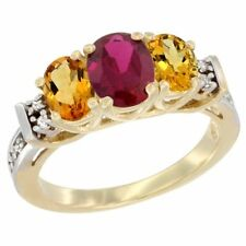 10k Yellow Gold Natural Diamond, High Quality Ruby & Citrine 3-Stone Oval Ring