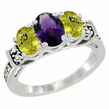 10k White Gold Natural Amethyst & Lemon Quartz 3-Stone Oval Cut Diamond Ring