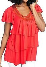 NEW  Glitterscape Stretch Knit Beaded Neck Three-Tiered Top - M & 1X