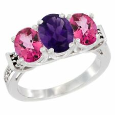 10k White Gold Natural Amethyst & Pink Topaz 3-Stone Oval Cut Diamond Ring