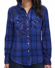 New AFFLICTION Women's Blue Plaid Embellished Button Canter L/S Woven Shirt $88