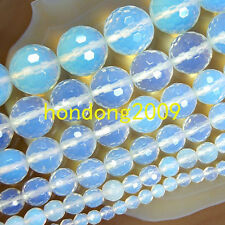 """4/6/8/10/12/14mm Faceted Opalite Round Loose Beads 15"""" Choose Size"""