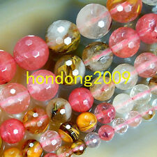 "Natural 4/6/8/10/12/14mm Faceted Watermelon Quartz  Round Loose Beads 15"" Choose"