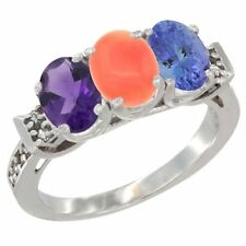 10k White Gold Natural Amethyst, Coral & Tanzanite 3-Stone Oval 7x5mm Ring