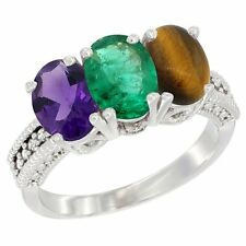 10k White Gold Natural Amethyst, Emerald & Tiger Eye 3-Stone Oval 7x5mm Ring