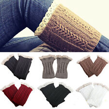 Elegant Lady Womens Crochet Knit Lace Trim Leg Warmers Cuffs Toppers Boot Socks