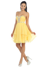Short Homecoming Formal Cocktail Dress Plus Size Strapless Chiffon Prom Dance
