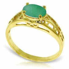 Natural Emerald Oval Gem Solitaire Filigree Ring in 14K Yellow, White, Rose Gold