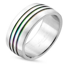 Pride Shack - Triple Line Rainbow Anodized Ring - Lesbian Gay Pride Ring Steel