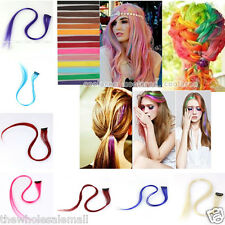 """1x 20"""" Party Colorful Highlight Clip In On Hair Extension Synthetic Fashion New"""