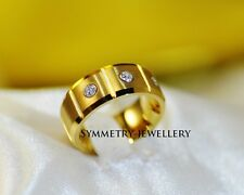 Unisex Tungsten with 18K Gold Diamonds Engagement Wedding Ring Band