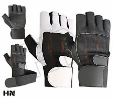 Leather Weight Lifting GYM Gloves Long Wrist Wrap Power lifting Lifter PADDED