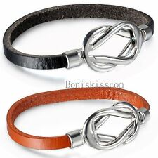 Love Infinity Symbol Buckle Men Women Leather Bracelet Cuff Bangle Wristband