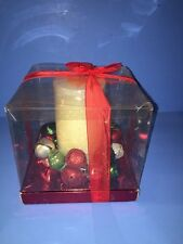 Kohls New Christmas Pillar Candle With Bells Centerpiece Red Silver  Green