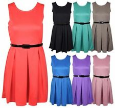 WOMENS PLEATED STRETCH FLARE BELTED LADIES SLEEVELESS SKATER SUMMER SHIFT DRESS