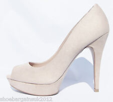 Womens New Mango Leather Lined Beige High Heel Platform Party Court Shoes UK 4-8