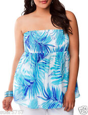 LANE BRYANT Blue Bandeau Sleeveless Top Tropical Print Summer Size 14 - 24 BNWT