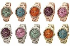 Ladies Crystal Rose Gold Designer Coloured Dial Fashion Luxury Steel Watch WREN