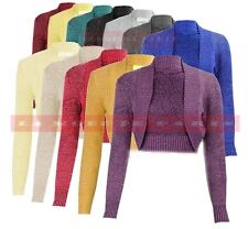 M98 NEW LADIES PLAIN LONG SLEEVE KNITTED LUREX BOLERO WOMENS SHRUG CARDIGAN TOP