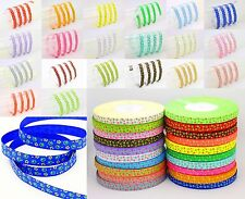 "Hot new 5YDS 3/8"" Printed Small Floral Grosgrain Ribbon DIY Craft Bow Color Pick"