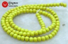 """SALE Small 4mm Round Yellow Natural TURQUOISE beads strand 15""""-los615"""