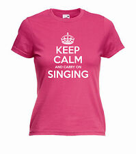 'Keep Calm and Carry on Singing' Ladies Girls Karaoke Funny T-shirt