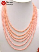 "SALE 6 Strands 4MM pink Coral 18-25""  NECKLACE WITH Big Pink flower CLASP-ne5671"