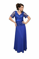 Modest Short Sleeve Lace Mother of the Bride Long Formal Dress Plus Size Vintage