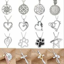 Animal Letter Heart Religious Cross Flower Crystal Pendant Necklace Jewelry Gift