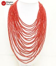 """SALE 20 Strands Round 3-4MM Red High Quality Coral 18-27"""" long NECKLACE-nec5769"""
