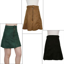 Street Fashion Womens High Waist Suede Zip Front A-Line Ladies Mini Skirt