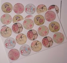 30-90 PRE-CUT EDIBLE WAFER CUP CAKE TOPPERS PINK SHABBY CHIC ROSE BUTTERFLY CAKE
