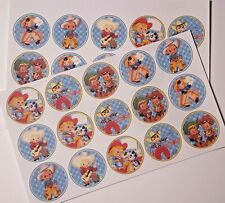 30-90 PRE-CUT EDIBLE WAFER CUP CAKE TOPPERS RETRO VINTAGE COWGIRLS COWBOYS CUTE