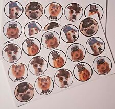 30-90 PRE-CUT EDIBLE WAFER CUP CAKE TOPPERS STEAMPUNK DOGS PUPPIES CUTE FUN