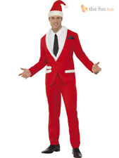 Mens Father Christmas Cool Santa Suit Fancy Dress Costume Stag Party Outfit
