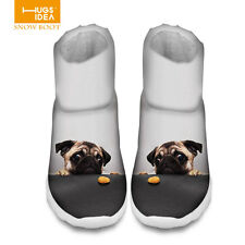 Casual Animal Pug Women's Flat Slip On Thicken Boots Ankle Warm Snow Boots Shoes