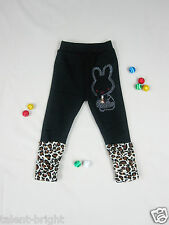 New Cute Girls Black with Leopard Print Warm Winter Leggings Size 3-4-5-6 Years